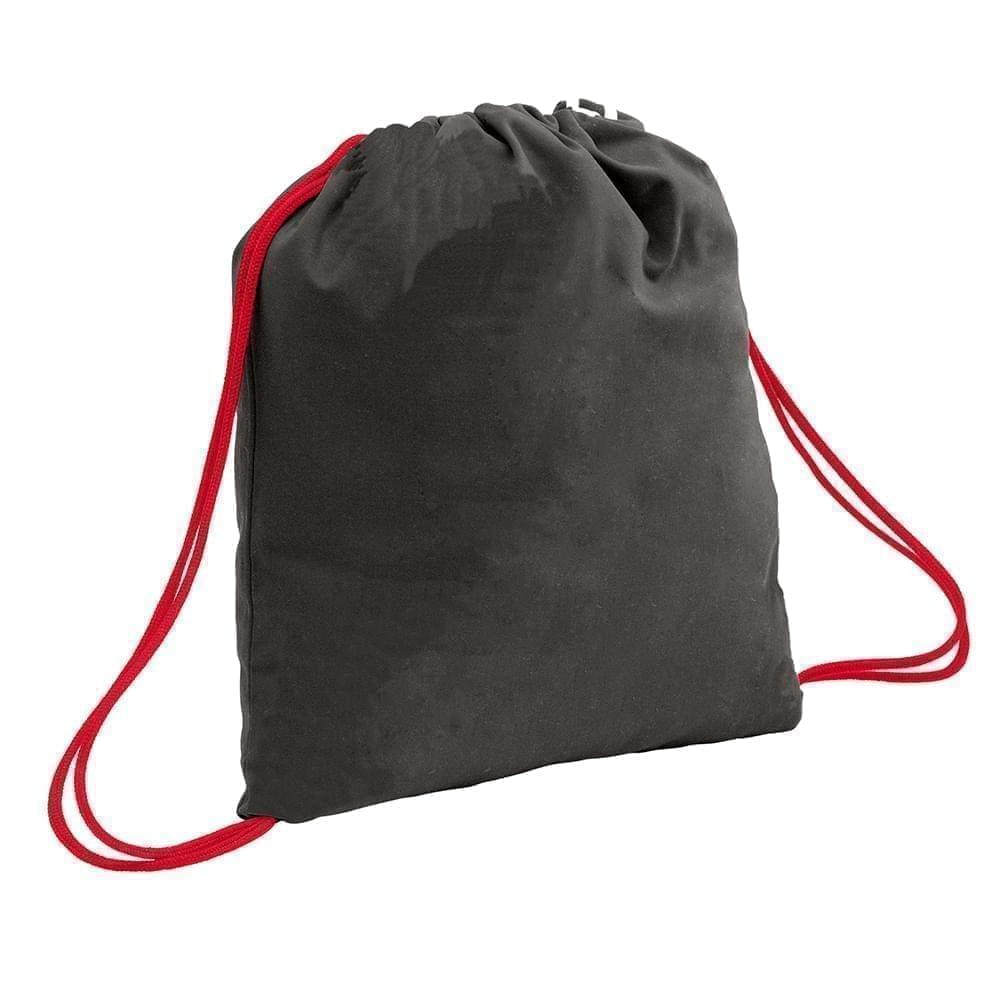 USA Made 200 D Nylon Drawstring Backpacks, Black-Red, 2001744-TO2