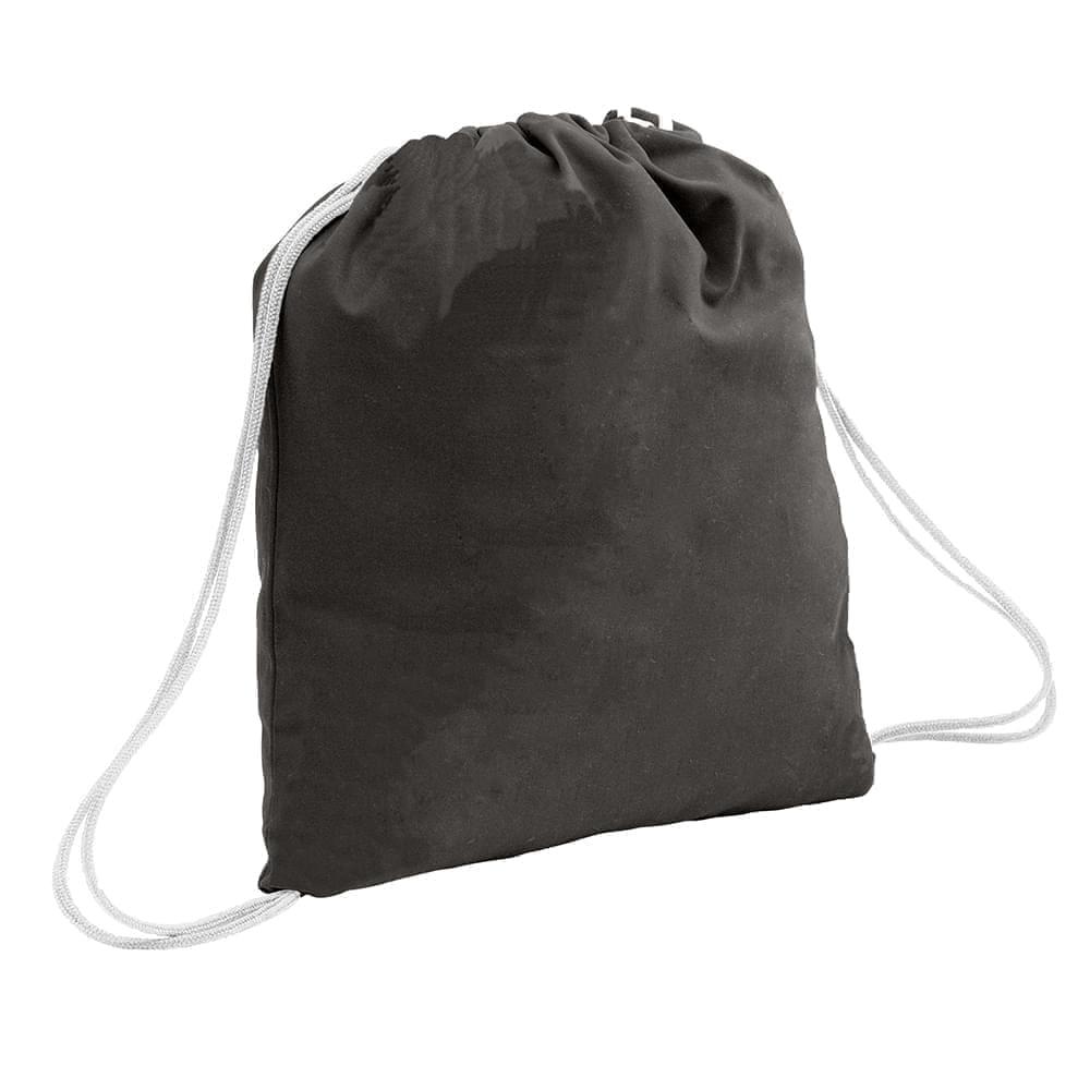 USA Made 200 D Nylon Drawstring Backpacks, Black-White, 2001744-TO4