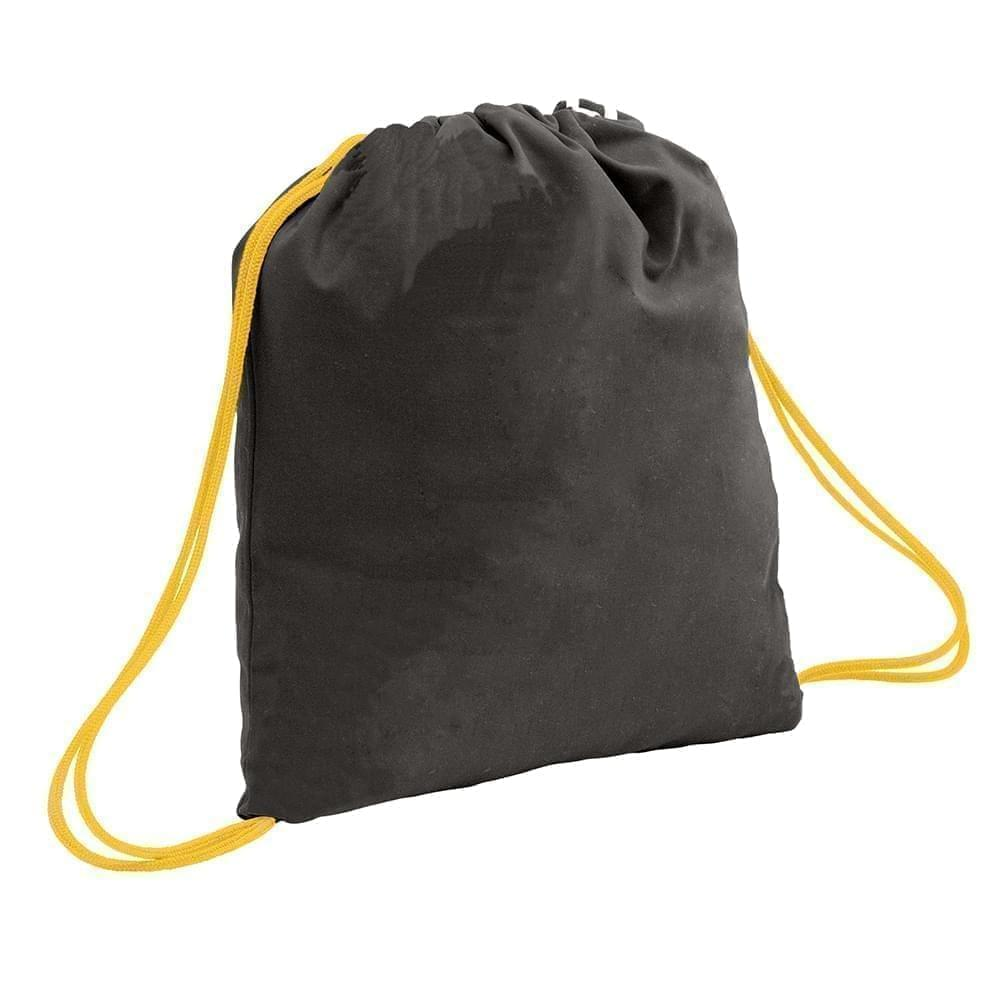 USA Made 200 D Nylon Drawstring Backpacks, Black-Gold, 2001744-TO5
