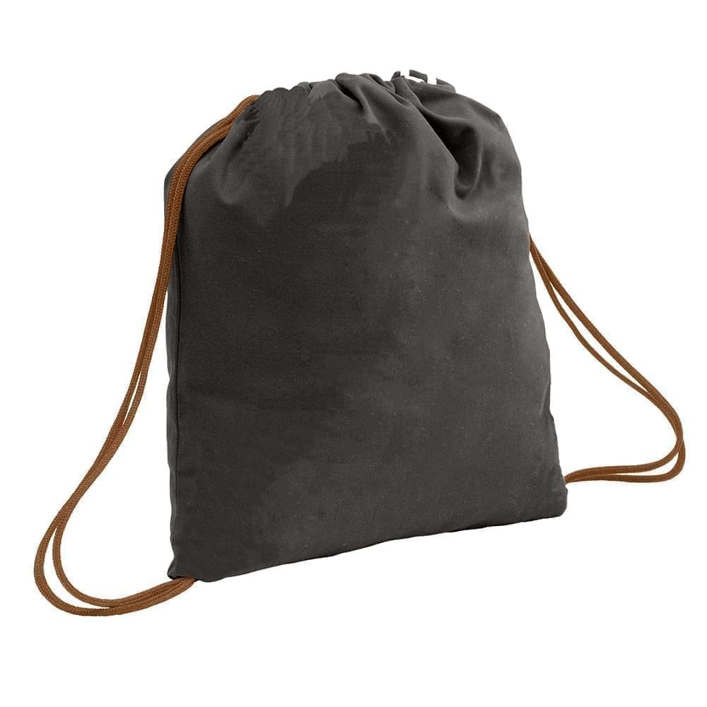 USA Made 200 D Nylon Drawstring Backpacks, Black-Brown, 2001744-TOS