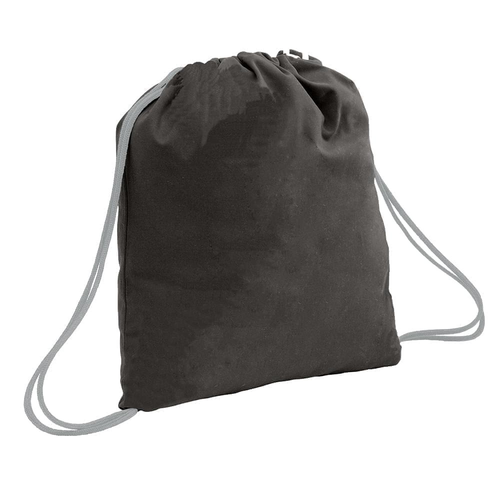 USA Made 200 D Nylon Drawstring Backpacks, Black-Gray, 2001744-TOU