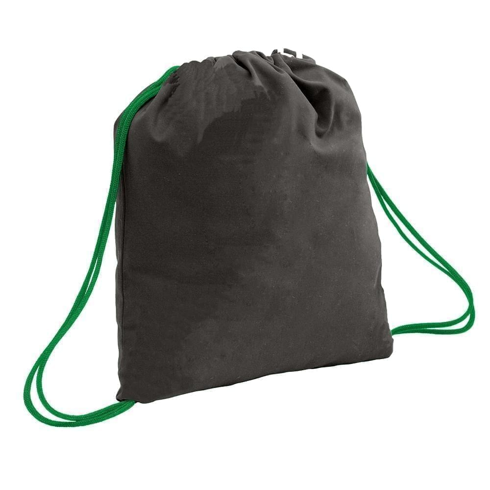 USA Made 200 D Nylon Drawstring Backpacks, Black-Kelly, 2001744-TOW