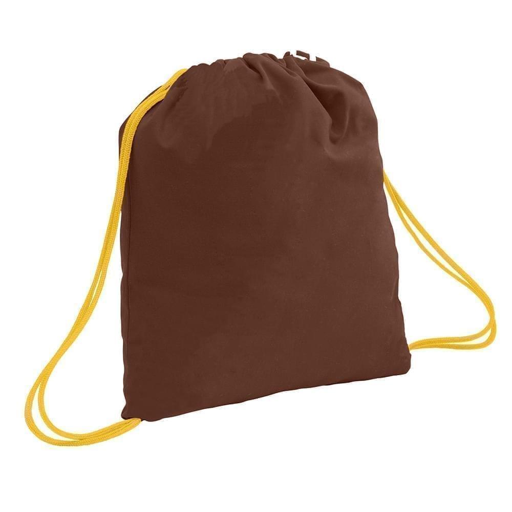 USA Made 200 D Nylon Drawstring Backpacks, Brown-Gold, 2001744-TP5