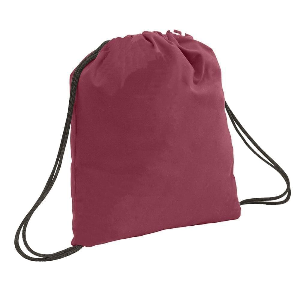 USA Made 200 D Nylon Drawstring Backpacks, Burgundy-Black, 2001744-TQR
