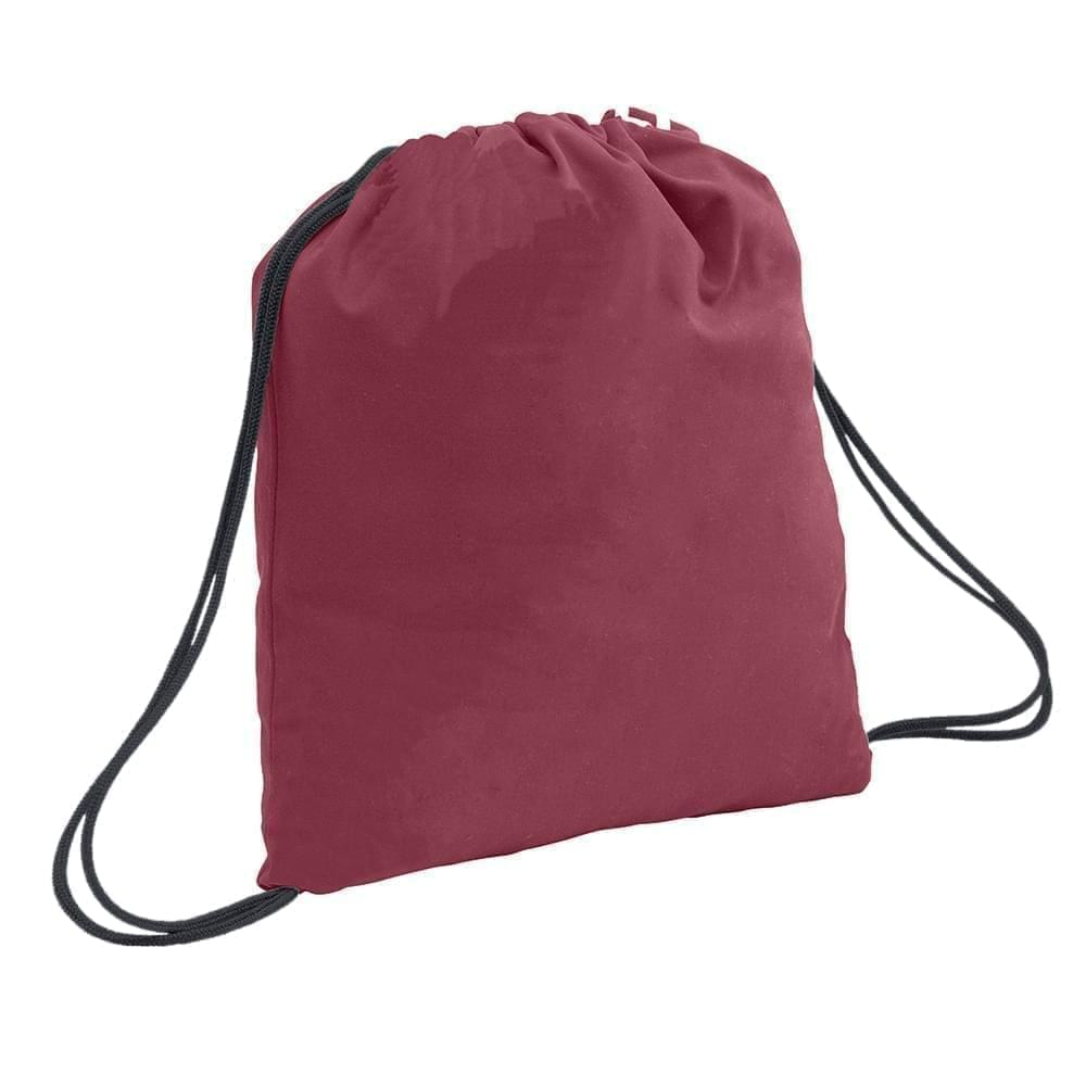USA Made 200 D Nylon Drawstring Backpacks, Burgundy-Graphite, 2001744-TQT