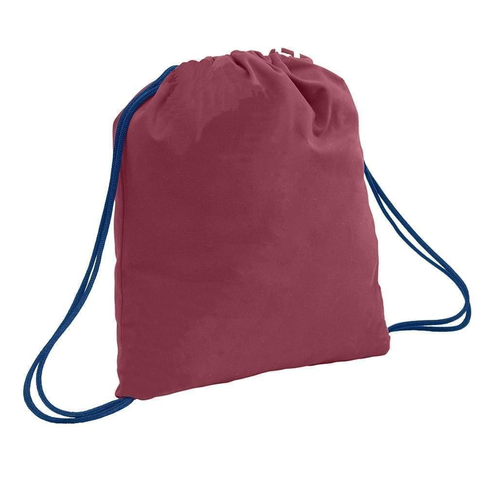 USA Made 200 D Nylon Drawstring Backpacks, Burgundy-Navy, 2001744-TQZ