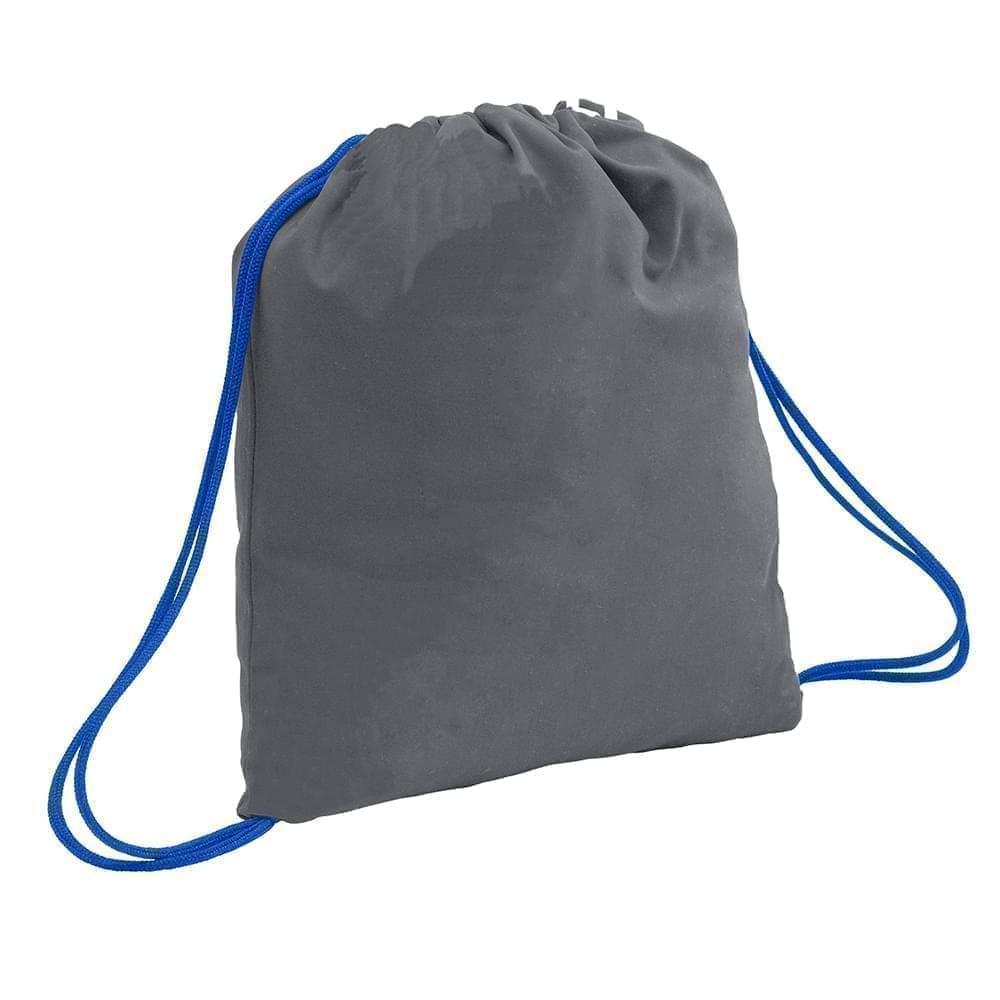 USA Made 200 D Nylon Drawstring Backpacks, Graphite-Royal, 2001744-TR3