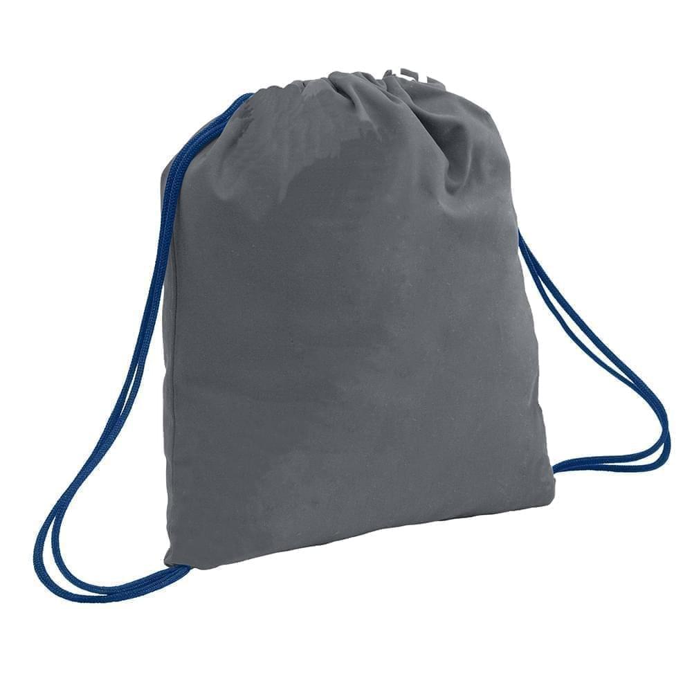 USA Made 200 D Nylon Drawstring Backpacks, Graphite-Navy, 2001744-TRZ