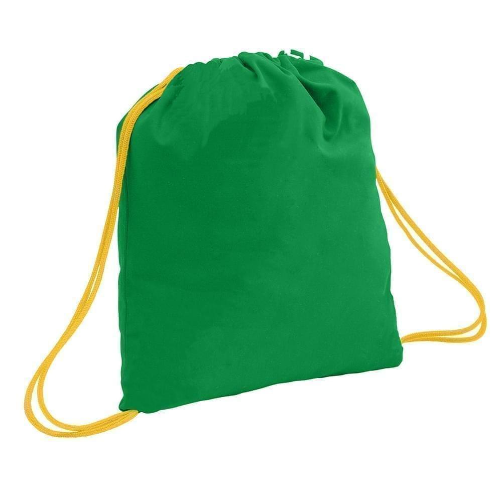 USA Made 200 D Nylon Drawstring Backpacks, Kelly-Gold, 2001744-TT5