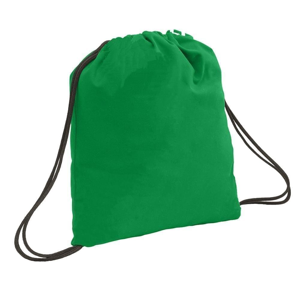 USA Made 200 D Nylon Drawstring Backpacks, Kelly-Black, 2001744-TTR