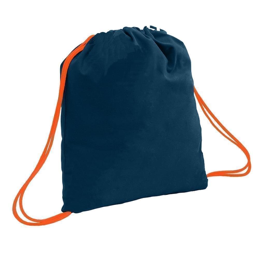 USA Made 200 D Nylon Drawstring Backpacks, Navy-Orange, 2001744-TW0