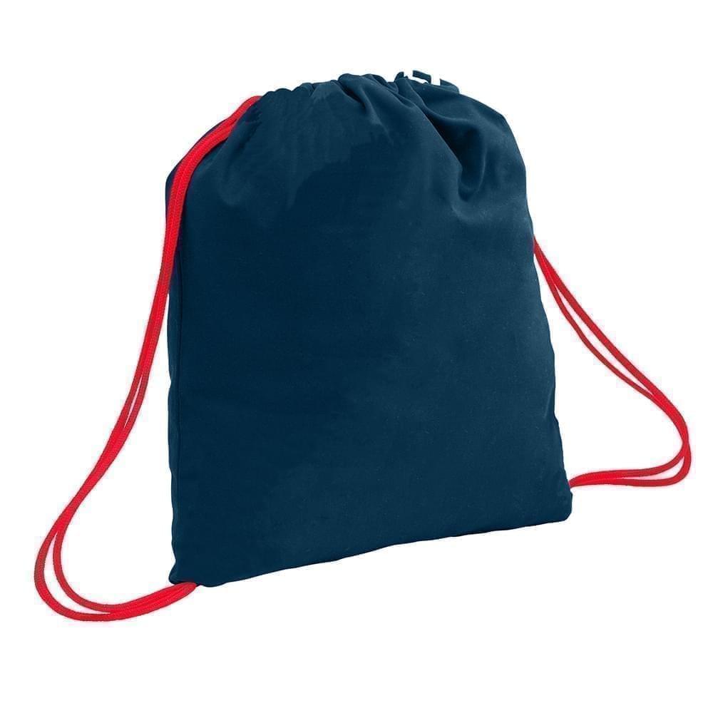 USA Made 200 D Nylon Drawstring Backpacks, Navy-Red, 2001744-TW2