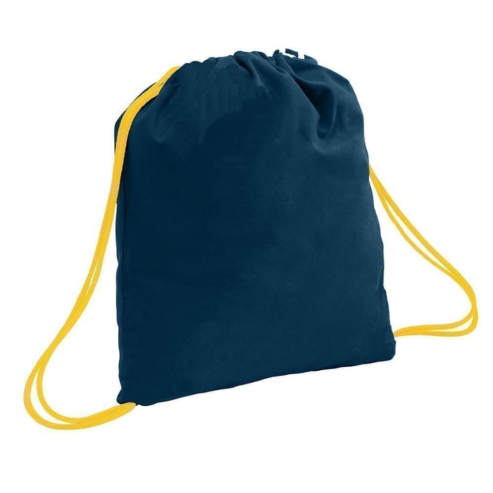 USA Made 200 D Nylon Drawstring Backpacks, Navy-Gold, 2001744-TW5