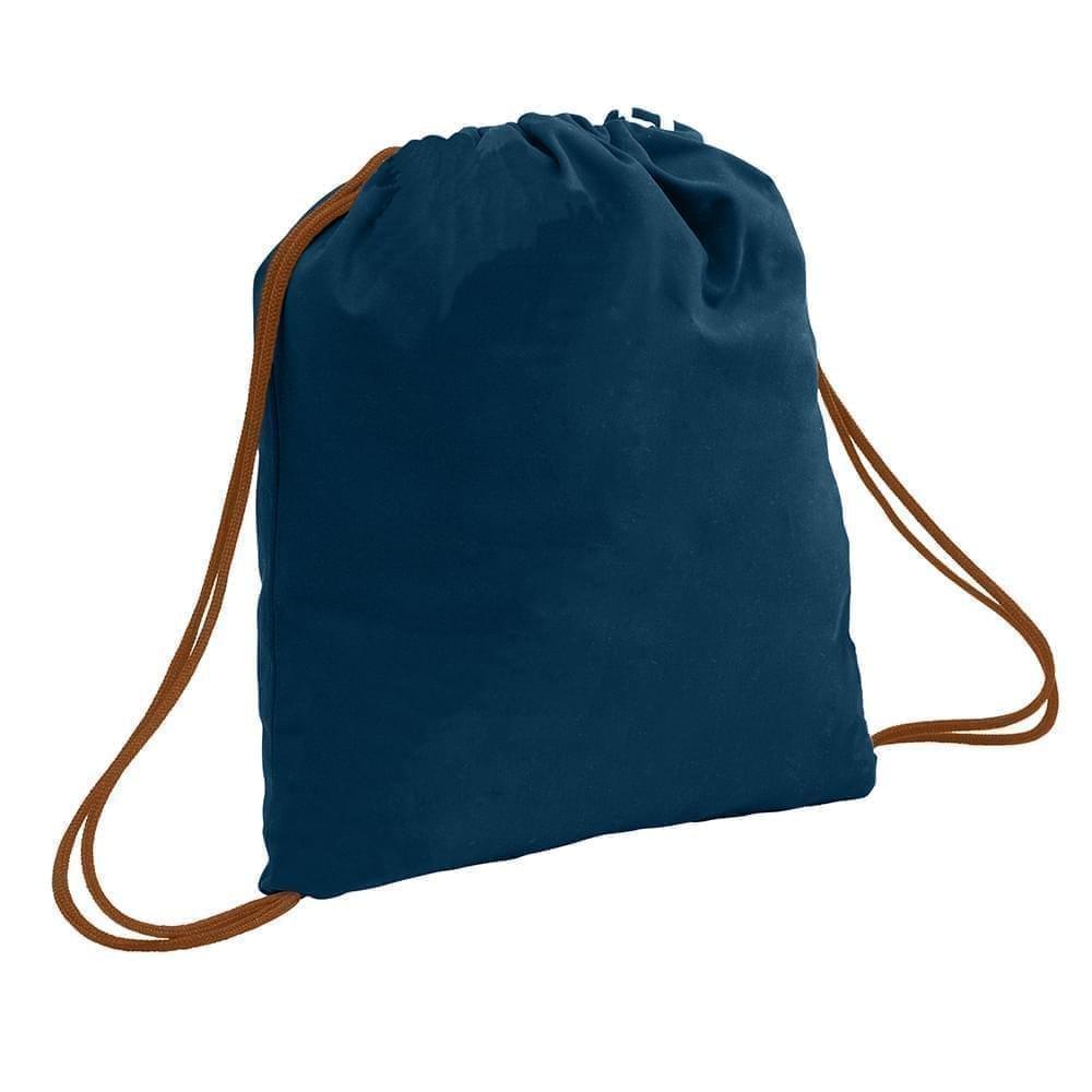 USA Made 200 D Nylon Drawstring Backpacks, Navy-Brown, 2001744-TWS