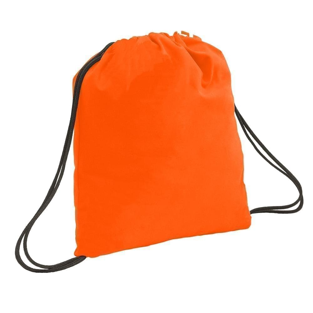 USA Made 200 D Nylon Drawstring Backpacks, Orange-Black, 2001744-TXR