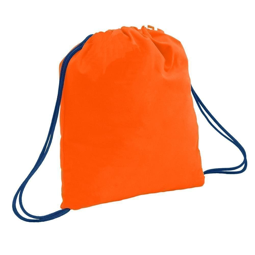 USA Made 200 D Nylon Drawstring Backpacks, Orange-Navy, 2001744-TXZ