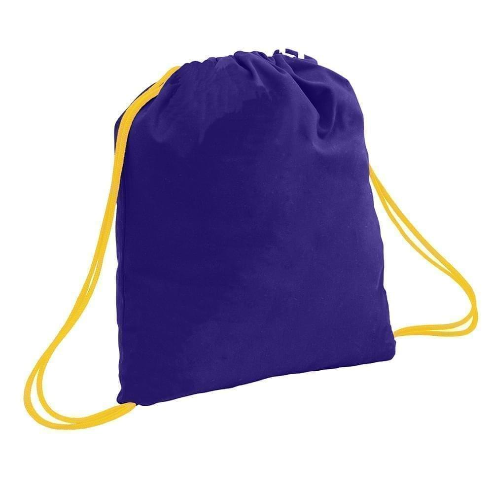 USA Made 200 D Nylon Drawstring Backpacks, Purple-Gold, 2001744-TY5