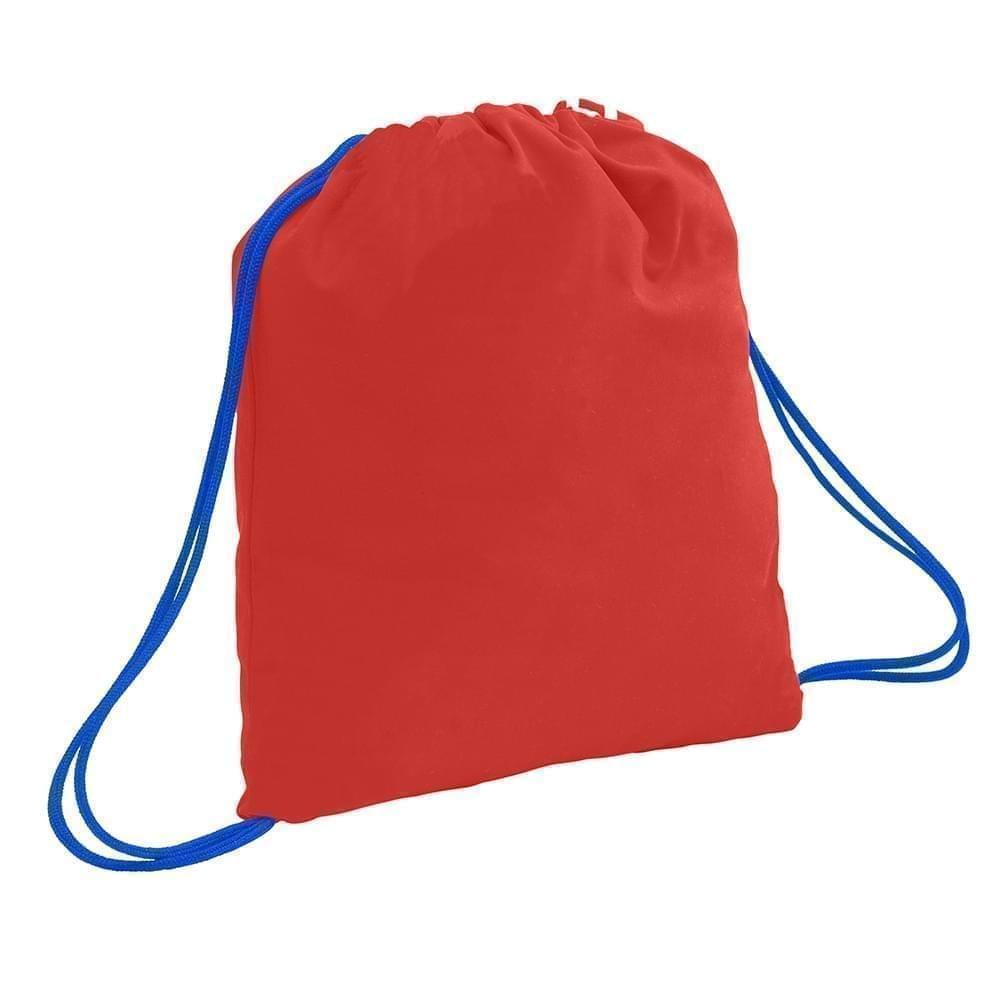 USA Made 200 D Nylon Drawstring Backpacks, Red-Royal, 2001744-TZ3