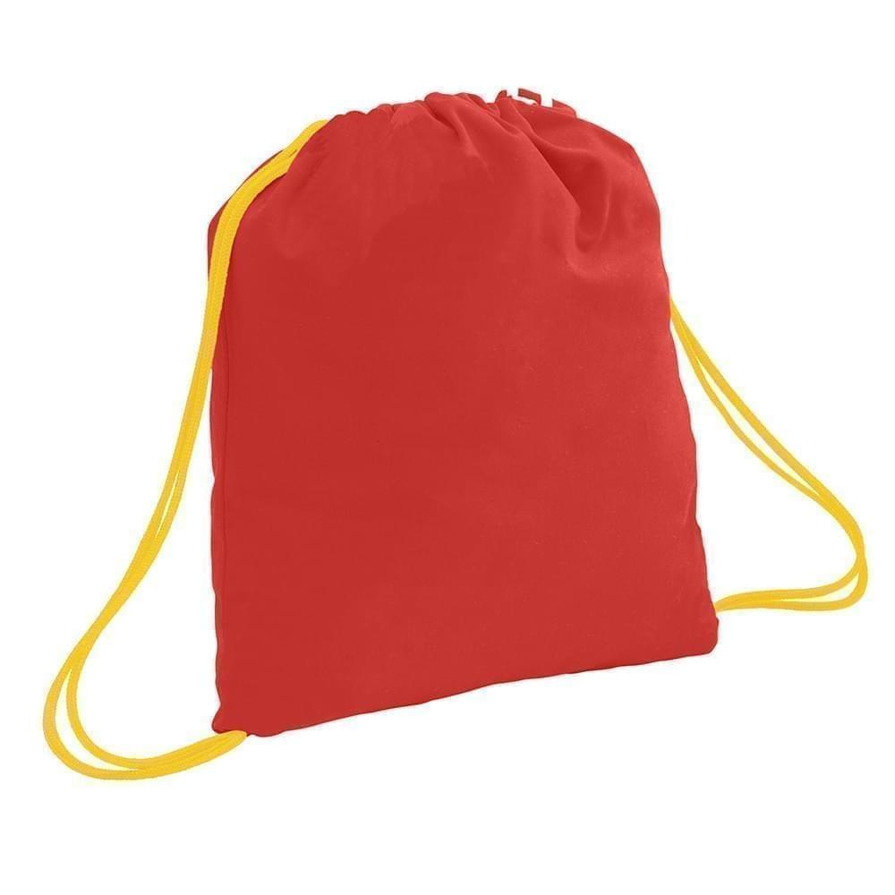 USA Made 200 D Nylon Drawstring Backpacks, Red-Gold, 2001744-TZ5