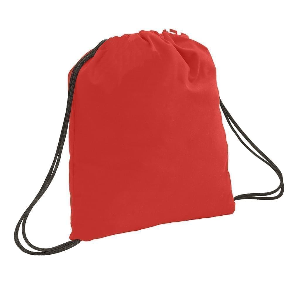 USA Made 200 D Nylon Drawstring Backpacks, Red-Black, 2001744-TZR