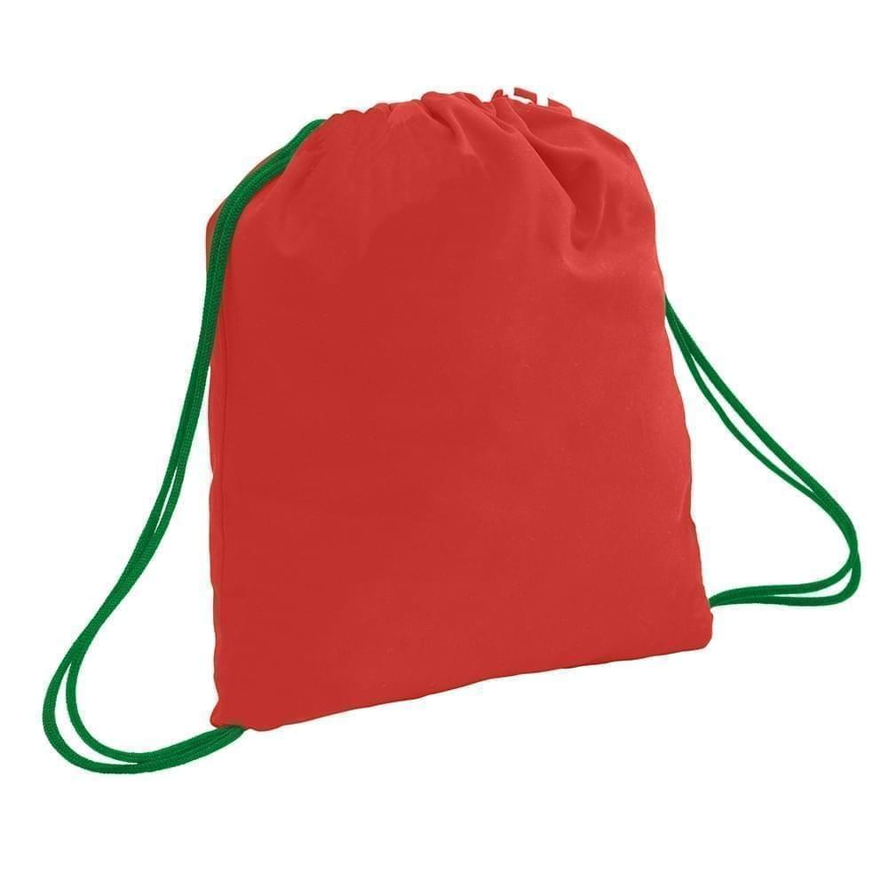 USA Made 200 D Nylon Drawstring Backpacks, Red-Kelly, 2001744-TZW