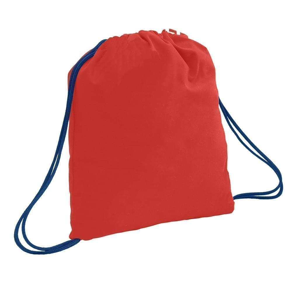 USA Made 200 D Nylon Drawstring Backpacks, Red-Navy, 2001744-TZZ