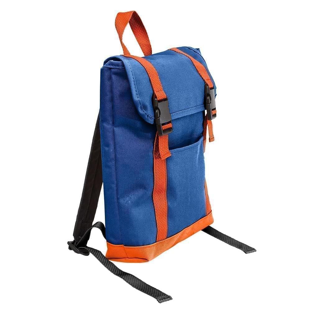 USA Made Poly Small T Bottom Backpacks, Royal-Orange, 2001921-A00