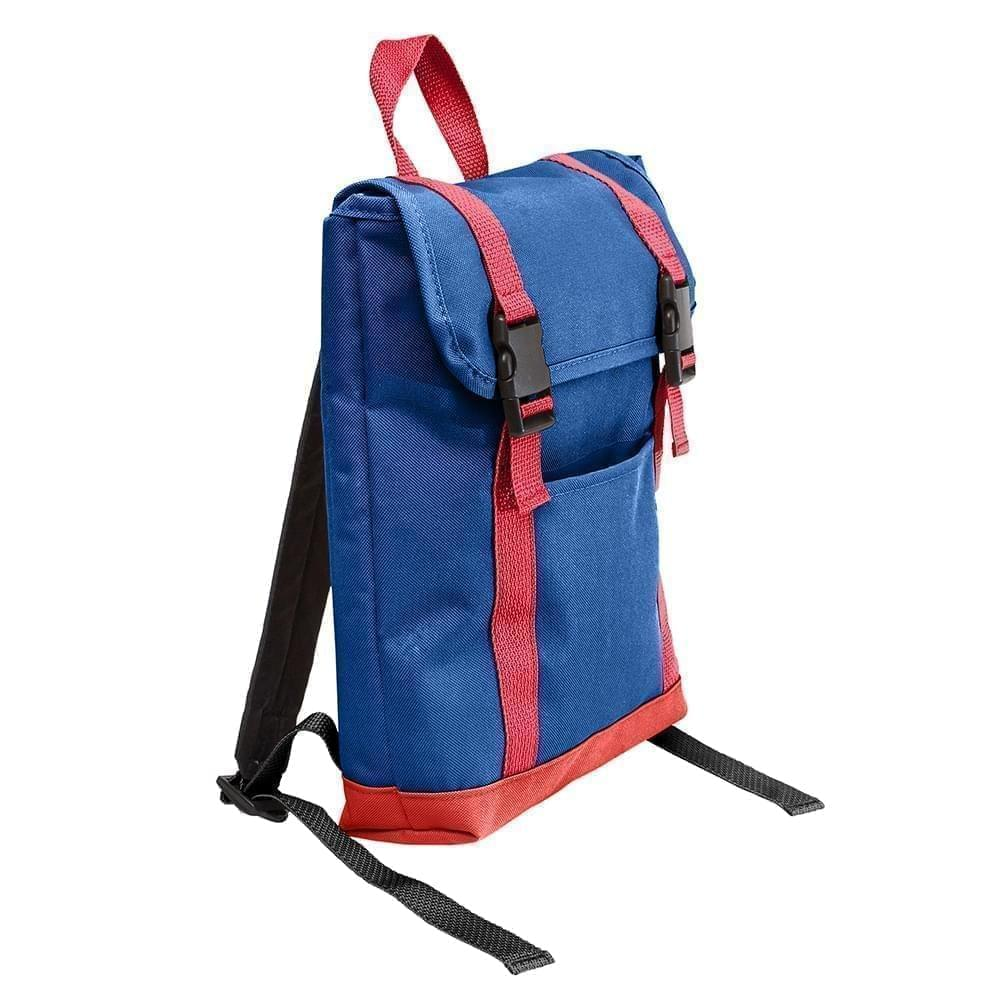 USA Made Poly Small T Bottom Backpacks, Royal-Red, 2001921-A02