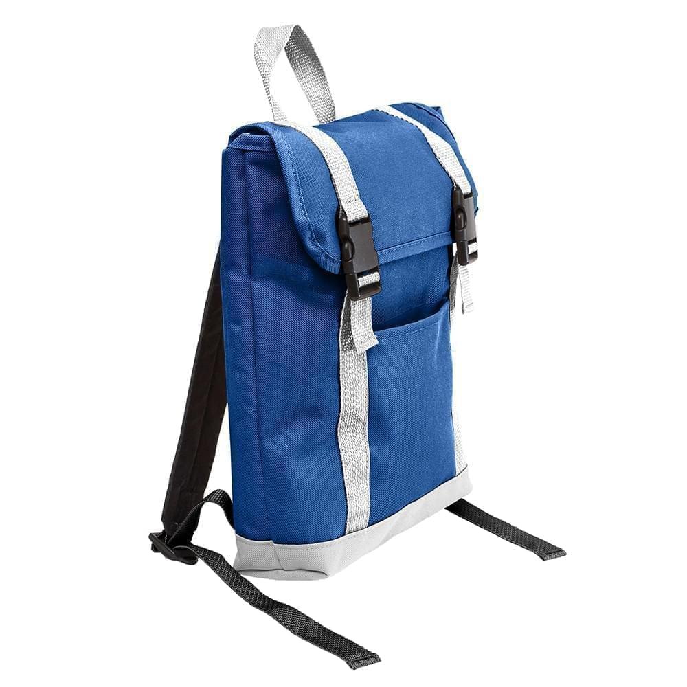 USA Made Poly Small T Bottom Backpacks, Royal-White, 2001921-A04