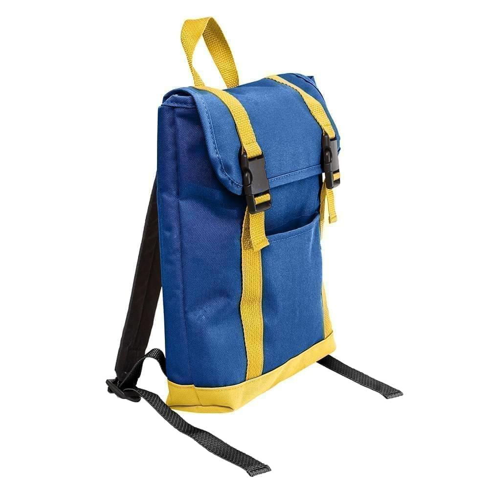 USA Made Poly Small T Bottom Backpacks, Royal-Gold, 2001921-A05