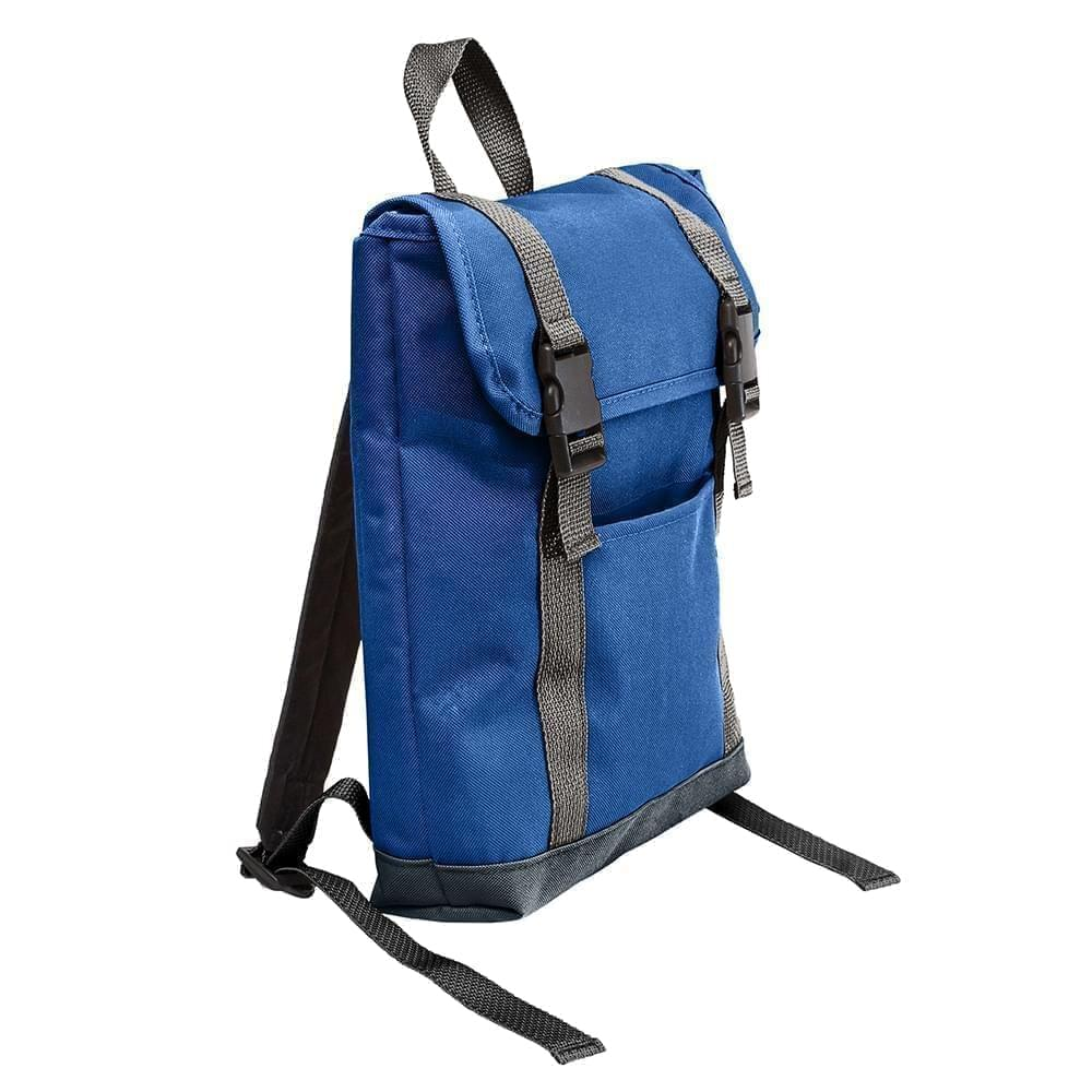 USA Made Poly Small T Bottom Backpacks, Royal-Black, 2001921-A0R