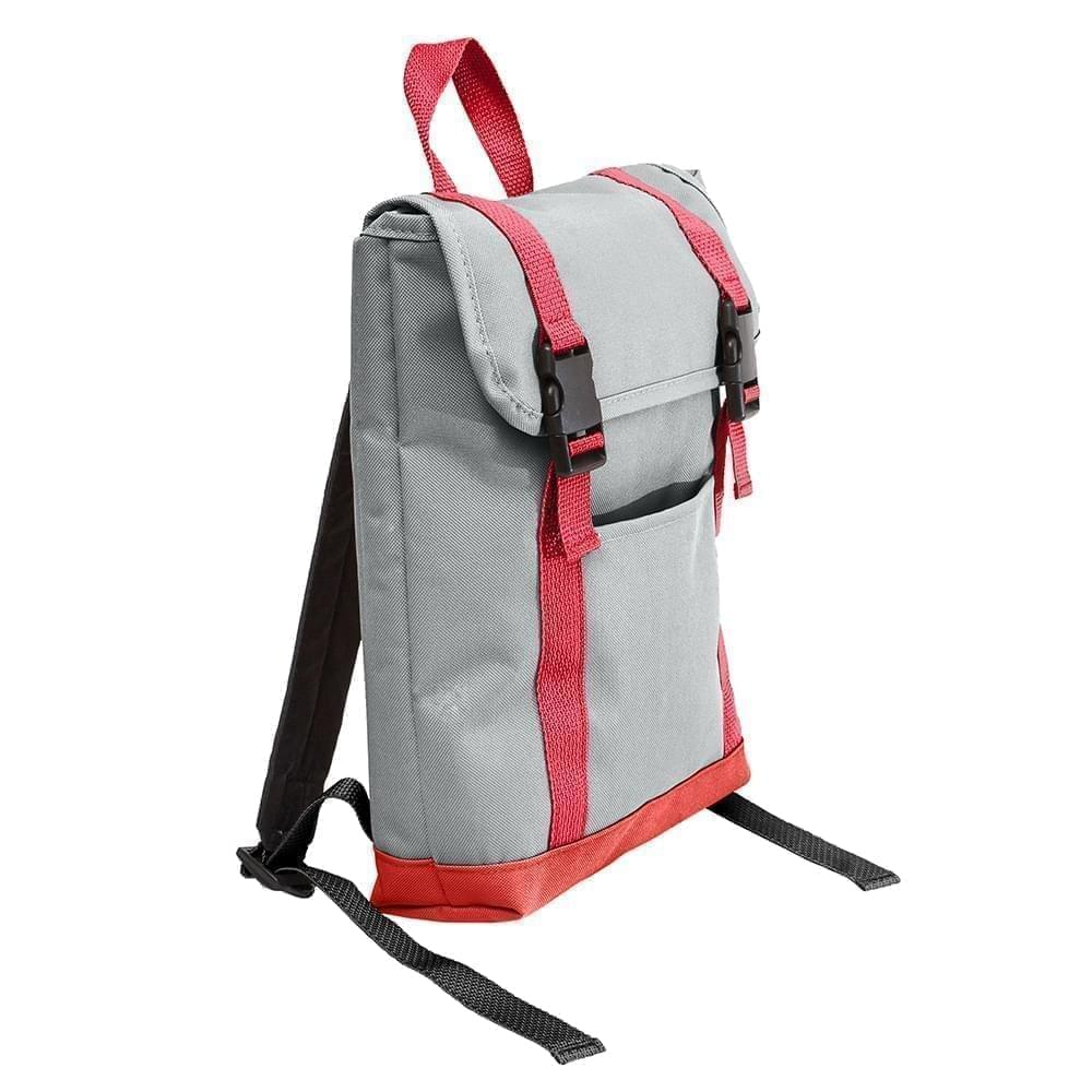 USA Made Poly Small T Bottom Backpacks, Gray-Red, 2001921-A12