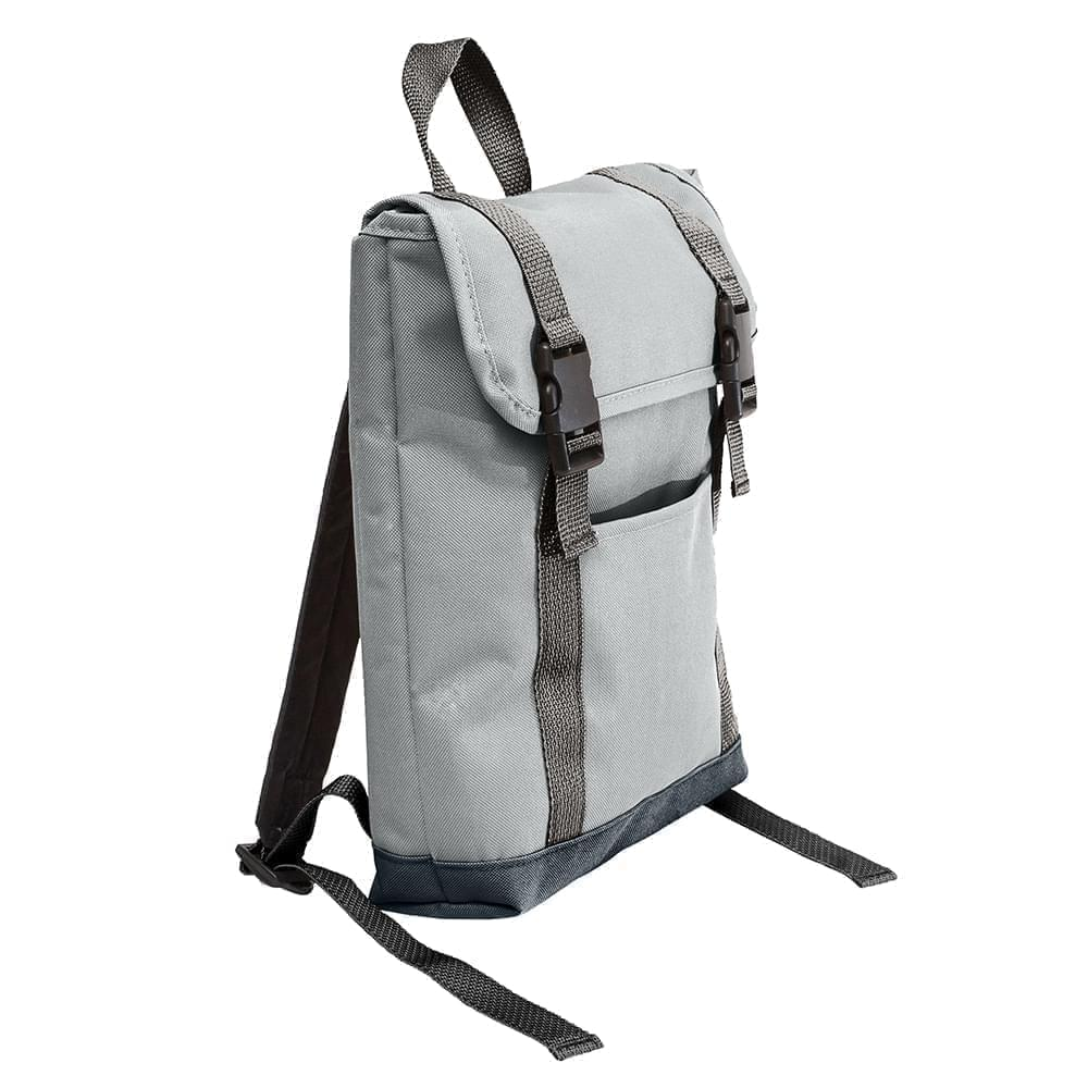 USA Made Poly Small T Bottom Backpacks, Gray-Black, 2001921-A1R