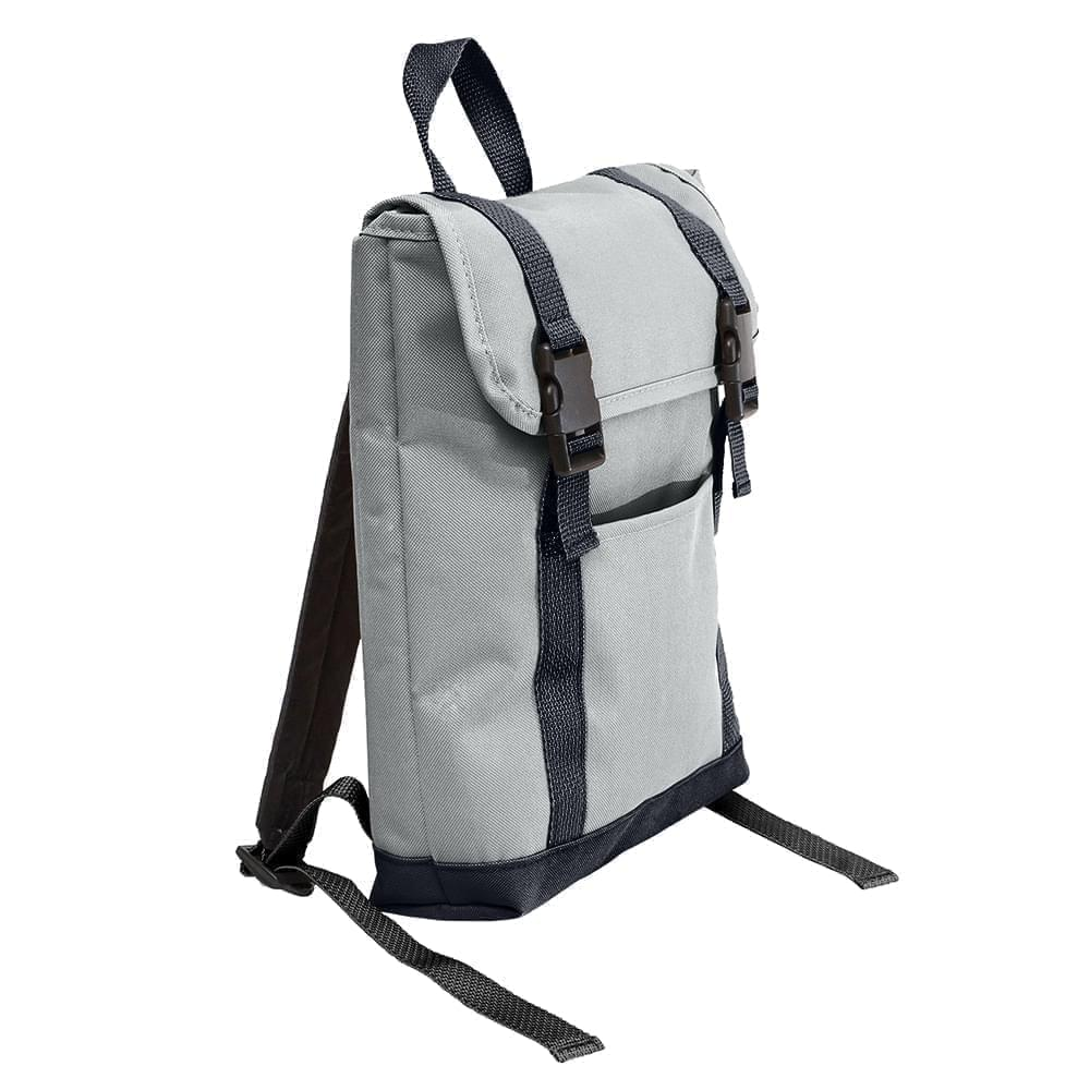 USA Made Poly Small T Bottom Backpacks, Gray-Graphite, 2001921-A1T