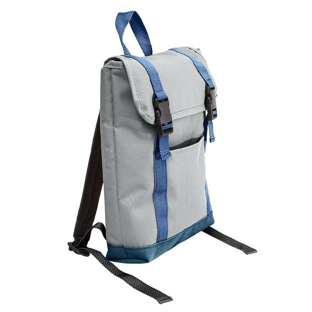 USA Made Poly Small T Bottom Backpacks, Gray-Navy, 2001921-A1Z