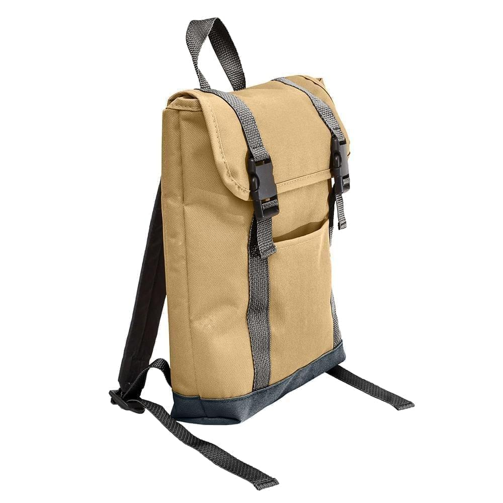 USA Made Poly Small T Bottom Backpacks, Khaki-Black, 2001921-A2R