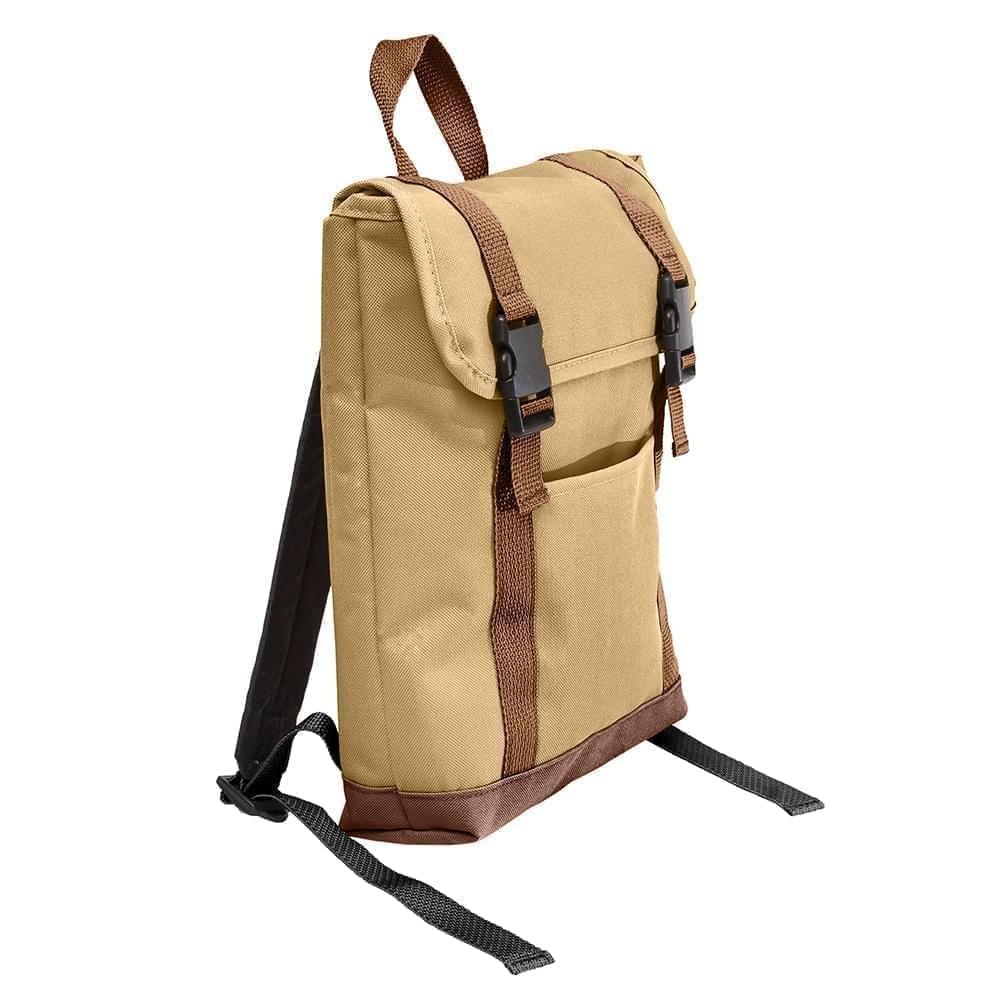 USA Made Poly Small T Bottom Backpacks, Khaki-Brown, 2001921-A2S