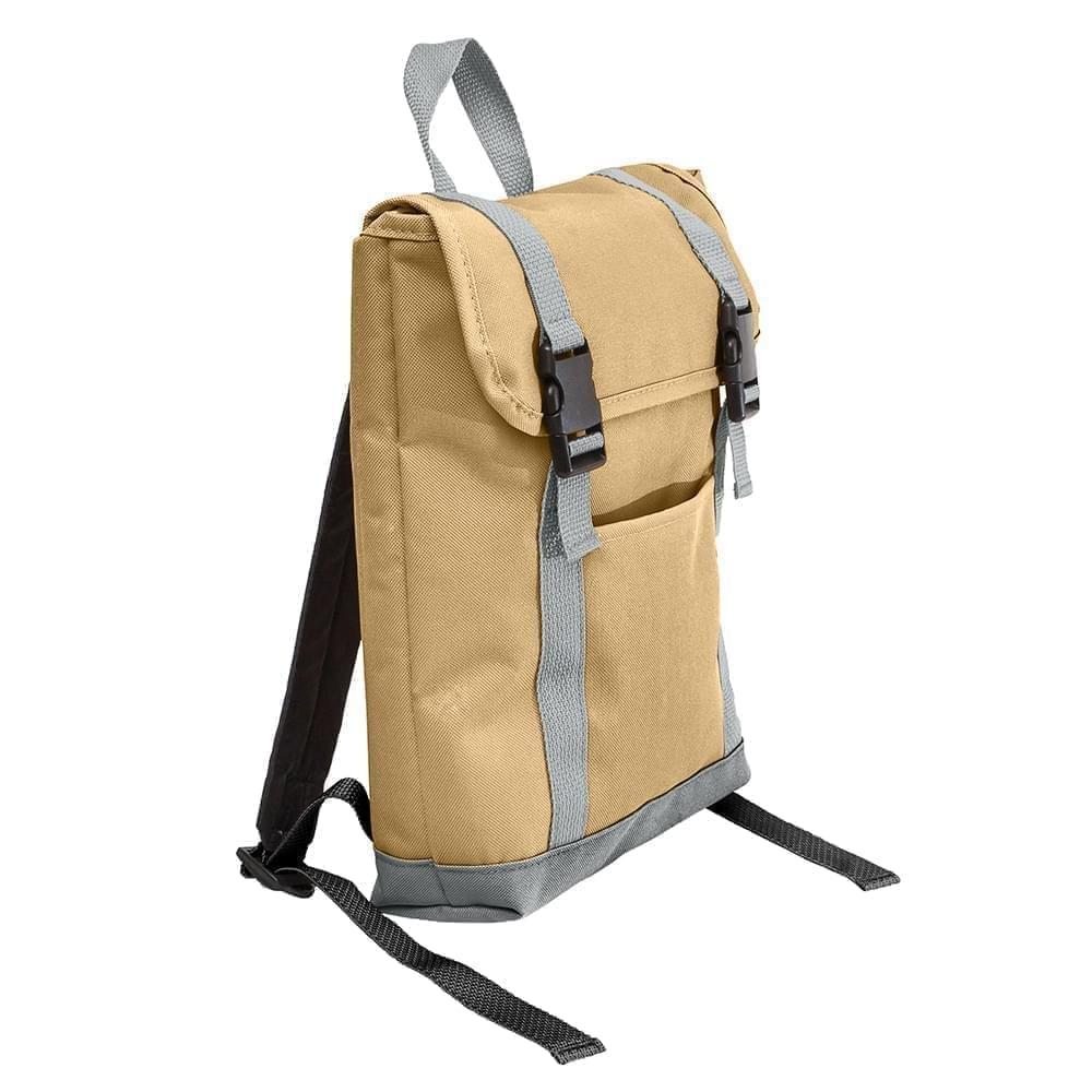 USA Made Poly Small T Bottom Backpacks, Khaki-Gray, 2001921-A2U