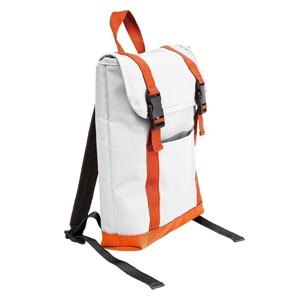USA Made Poly Small T Bottom Backpacks, White-Orange, 2001921-A30