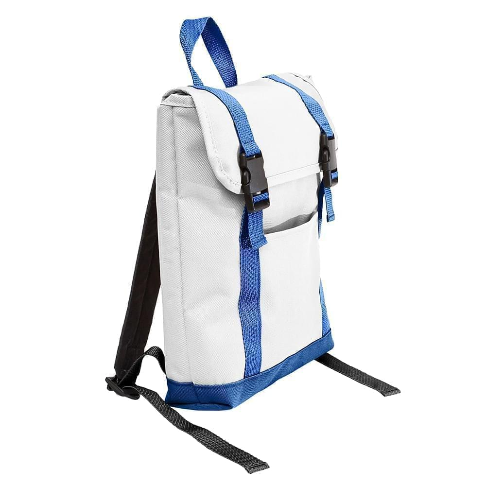USA Made Poly Small T Bottom Backpacks, White-Royal, 2001921-A33