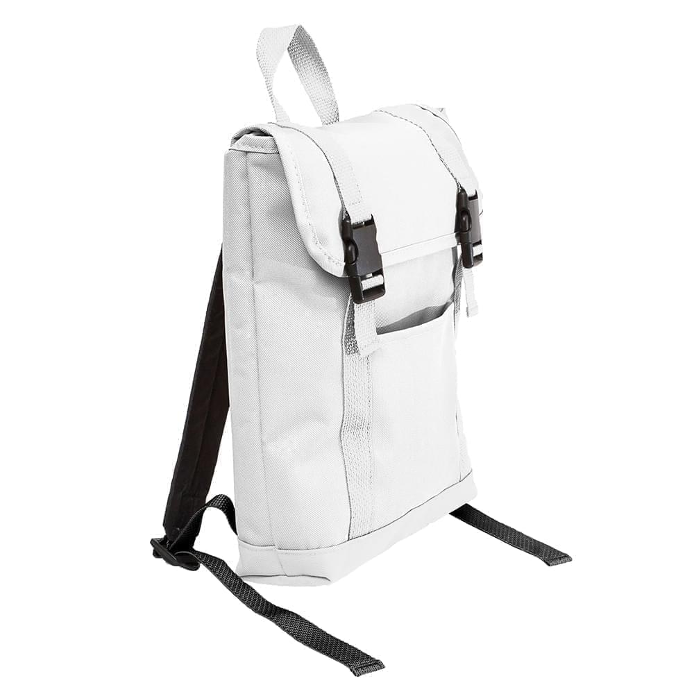 USA Made Poly Small T Bottom Backpacks, White-White, 2001921-A34