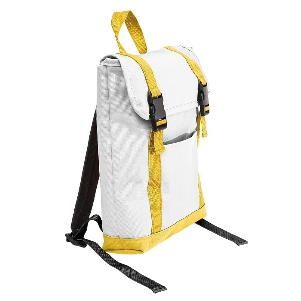 USA Made Poly Small T Bottom Backpacks, White-Gold, 2001921-A35