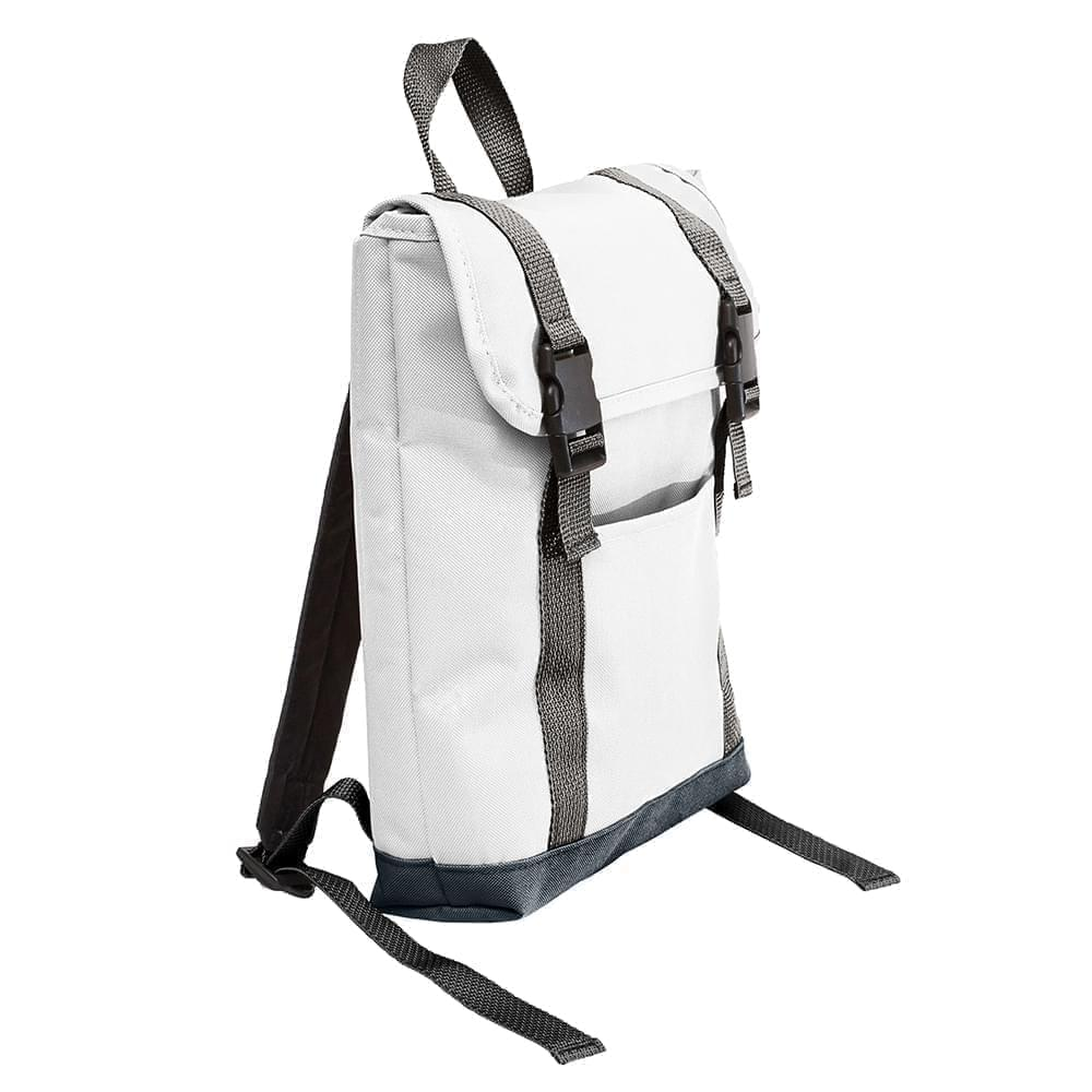 USA Made Poly Small T Bottom Backpacks, White-Black, 2001921-A3R