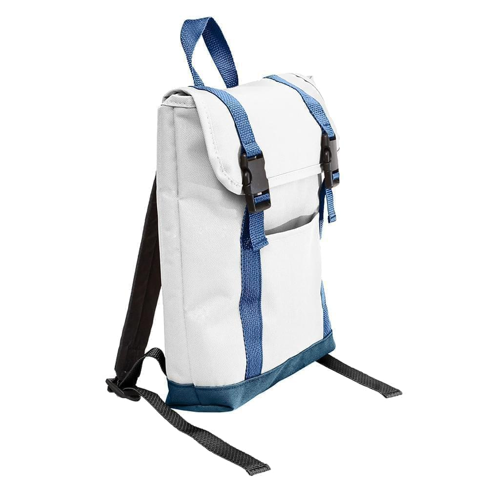 USA Made Poly Small T Bottom Backpacks, White-Navy, 2001921-A3Z