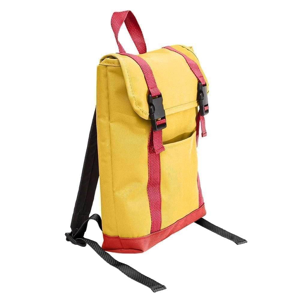 USA Made Poly Small T Bottom Backpacks, Gold-Red, 2001921-A42