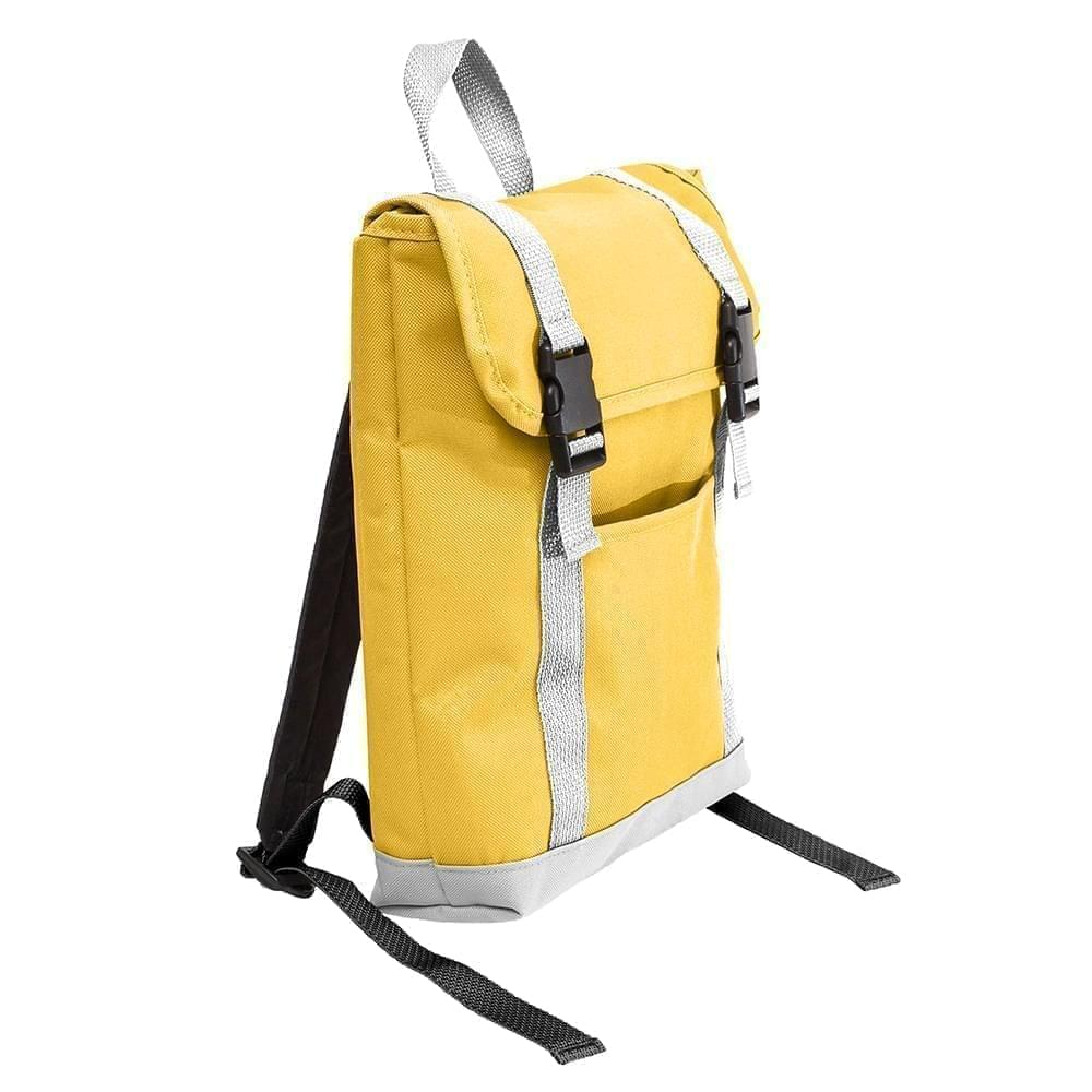 USA Made Poly Small T Bottom Backpacks, Gold-White, 2001921-A44