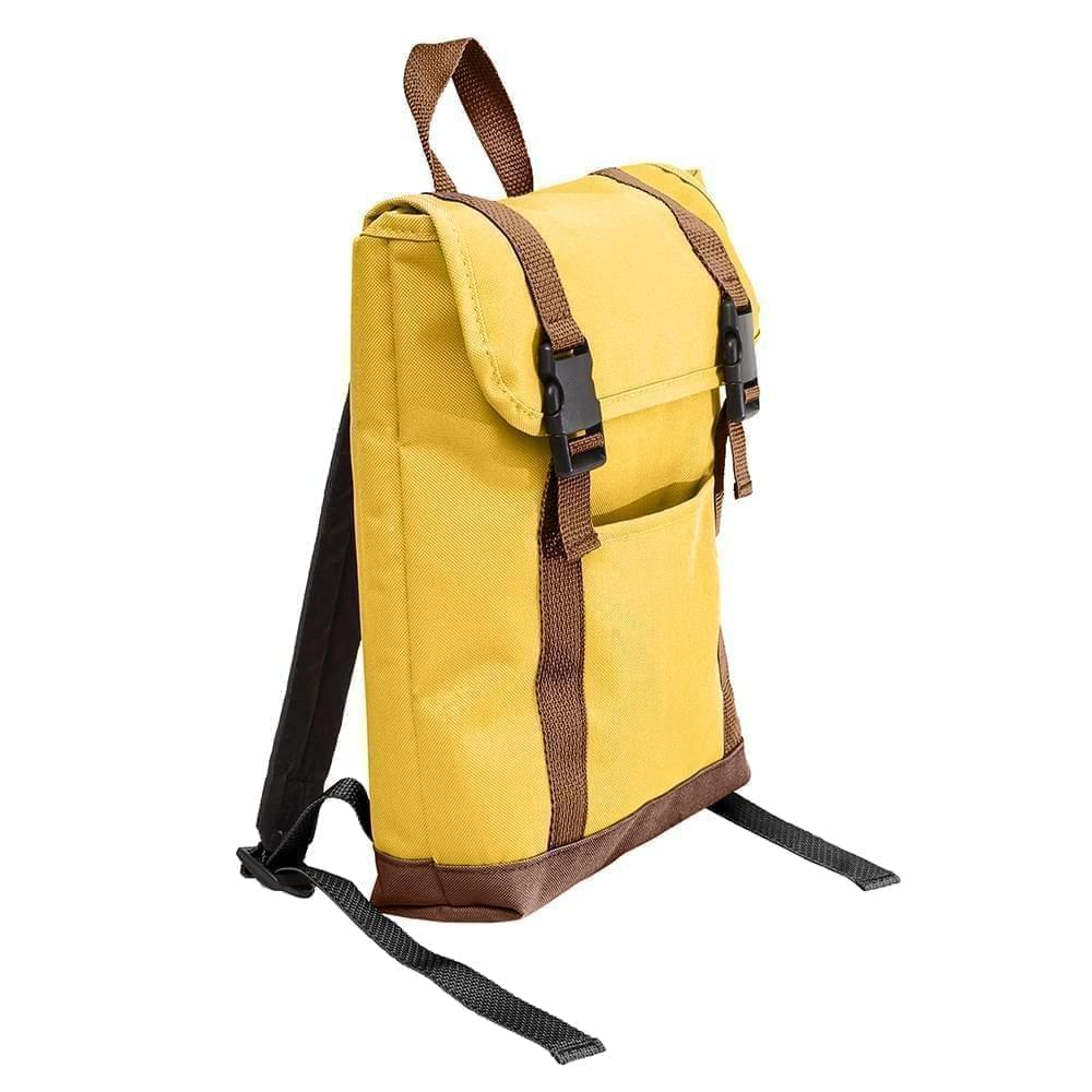 USA Made Poly Small T Bottom Backpacks, Gold-Brown, 2001921-A4S