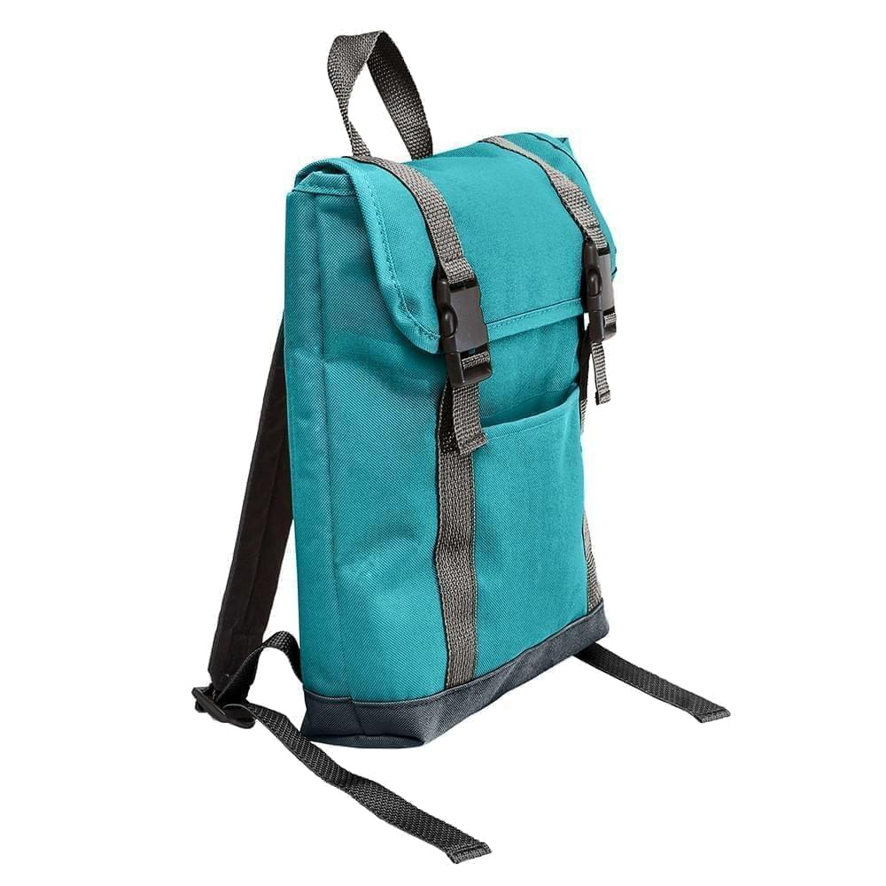 USA Made Poly Small T Bottom Backpacks, Turquoise-Black, 2001921-A9R