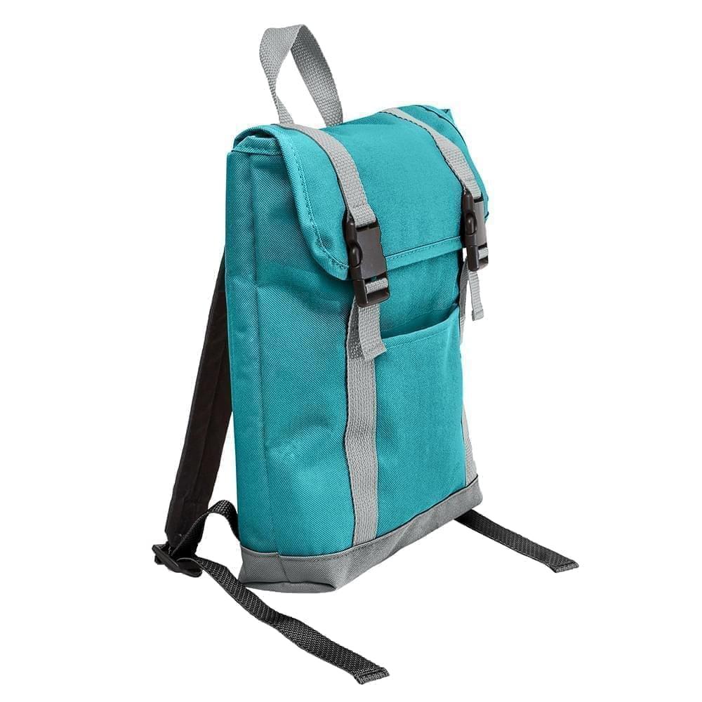 USA Made Poly Small T Bottom Backpacks, Turquoise-Gray, 2001921-A9U