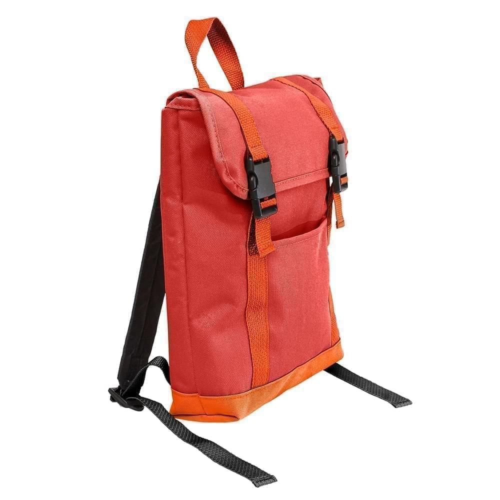 USA Made Canvas Small T Bottom Backpacks, Red-Orange, 2001921-AE0